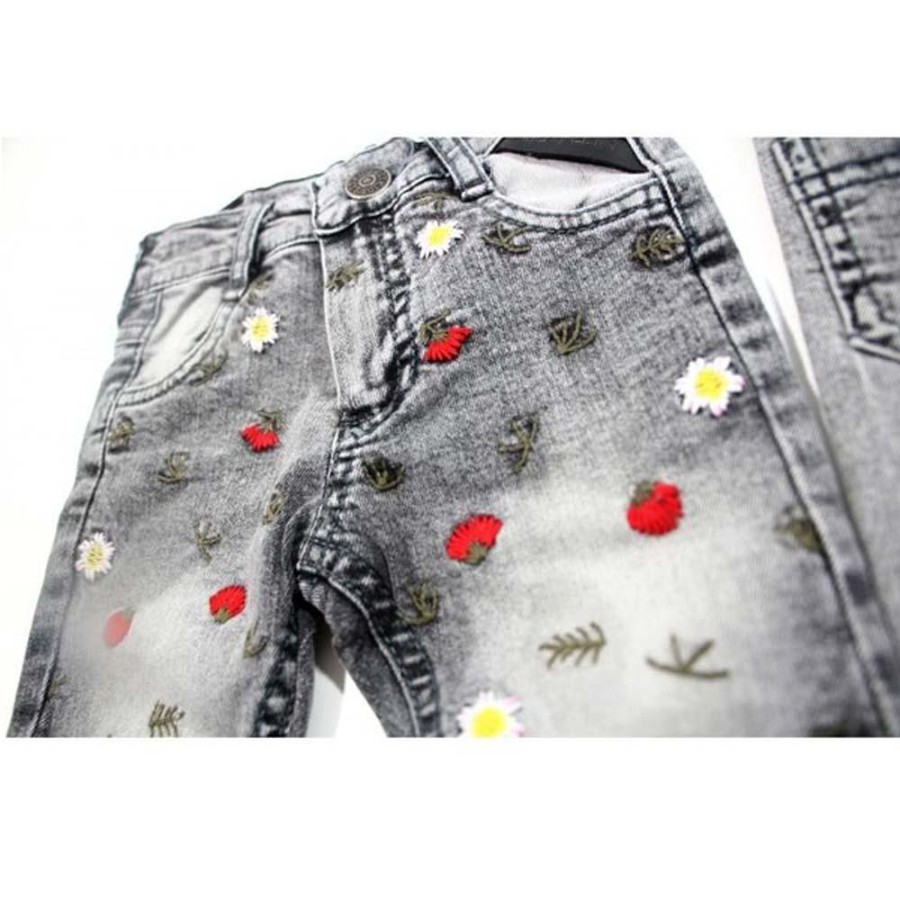 blugi gri pentru fetite cu floricele