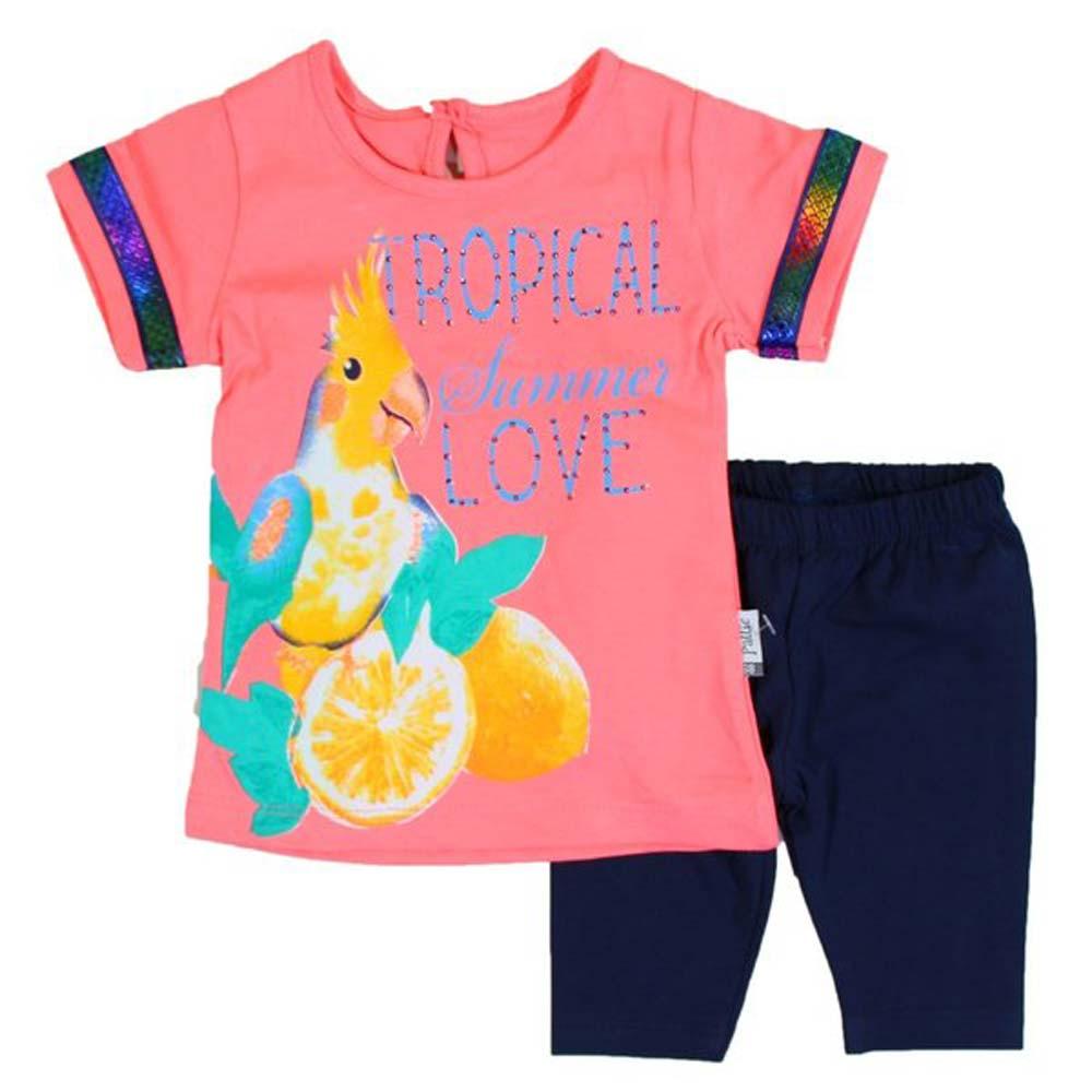 compleu papagal pentru fetite tricou si pantaloni