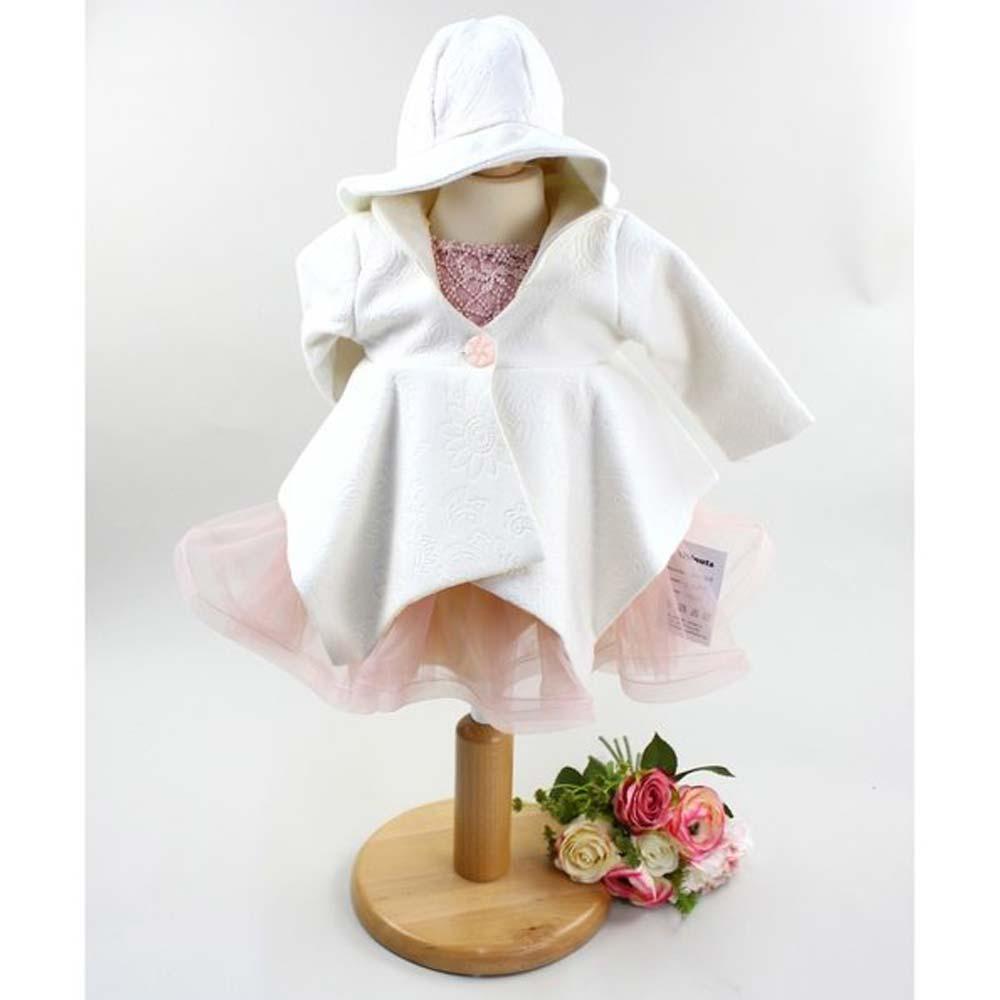 rochita botez 3-6 luni cu palarie si palton
