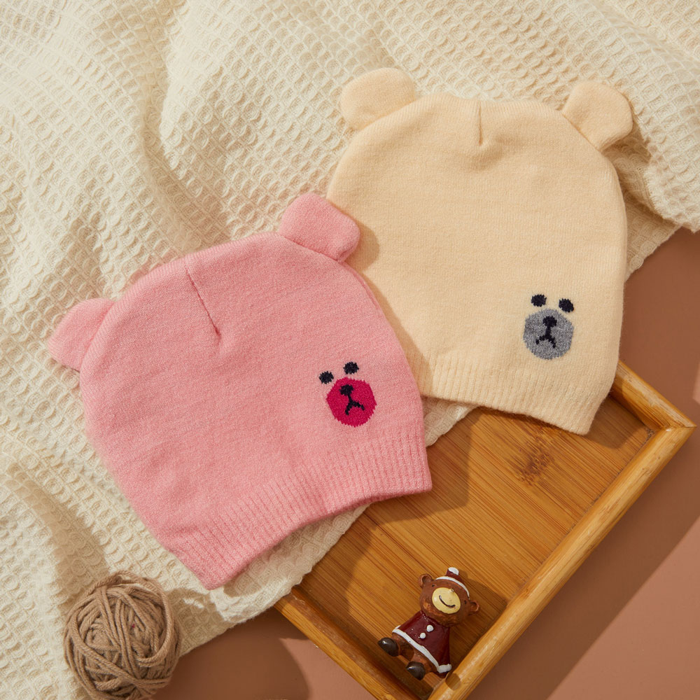 Caciula tricotata bebelusi roz si bej cu urechiuse