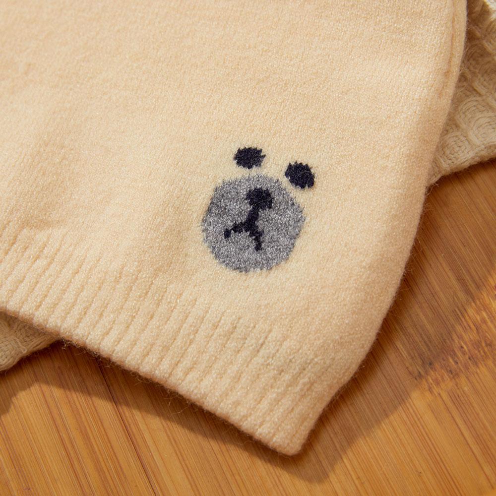 Caciula tricotata bebelusi bej cu urechiuse